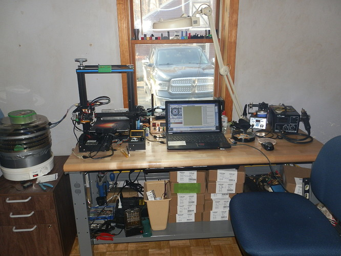 my cluttered work bench