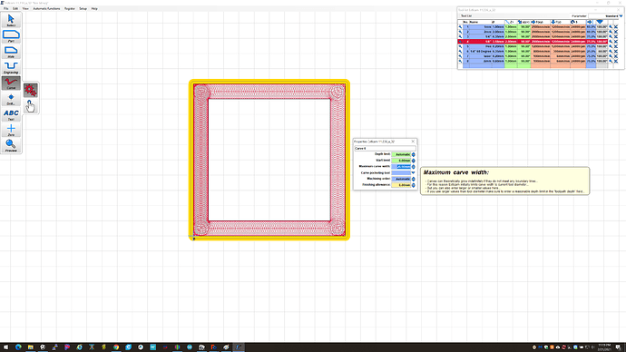 Select carve width