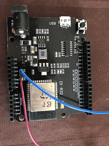 ESP32 with 2 wires added