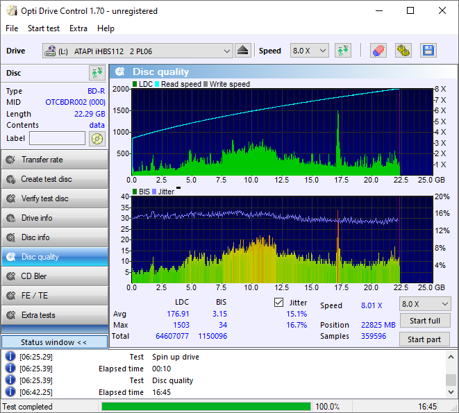 335 Plexdisc BD-R 25GB 6x Printable (OTCBDR002) @2x Vater 335 LG BH16NS40 NS51 1.03 Scan LiteOn iHBS 112 2 LDC D176 M1503 BIS D3,15 M34 (G2020-S2020)