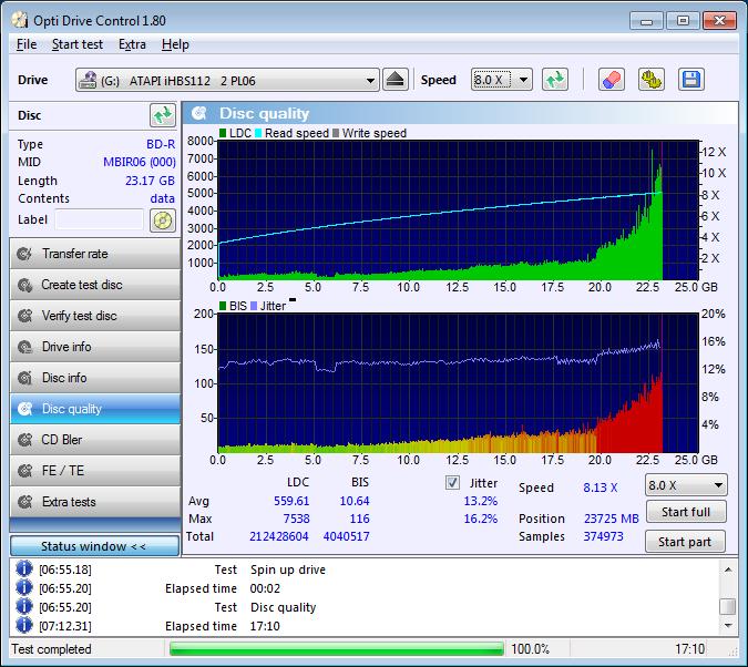 Professional Line BD-R 25GB 6x Printable (MBIR06) @4x Vater Pioneer BDR-212E 1.01 Scan Liteon iHBS 112 2 LDC D559 M7538 BIS D10,64 M116 (G2021-S2021)