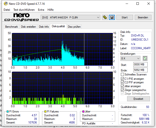 G14 NoName by Ricoh DVD+R 8.5GB 8x (UMEDISC DL1) W10-64 V20H2 LG GH24NSD1 LG00 Scan LiteOn iHAS 324F Q93 (G2021-S2021)