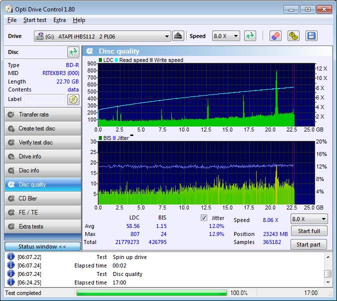 353 Smartbuy BD-R 25GB 6x (RITEKBR3) @4x Vater 353 Pioneer BDR-212E 1.01 Scan Liteon iHBS 112 2 LDC D58 M807 BIS D1,15 M24 (G2021-S2021)