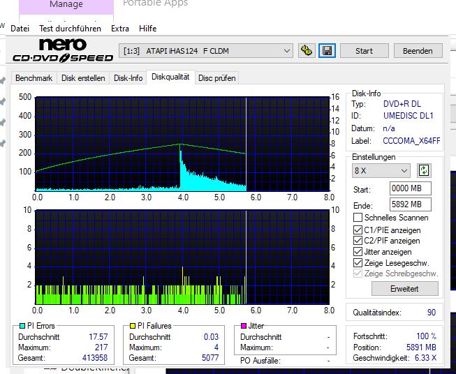 G14 NoName by Ricoh DVD+R 8.5GB 8x (UMEDISC DL1) W10-64 V20H2 LG GH24NSD1 LG00 Scan LiteOn iHAS 124F (Crystal) Q90 (G2021-S2021)