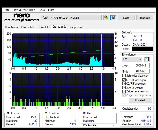 8 Intenso DVD+R 16x (AML 003) LG GH24NSD6 LU00 Scan LiteOn iHAS 324F Q90 (G2021-S2021)