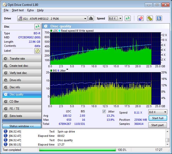 352 Plexdisc BD-R 25GB 6x Printable (OTCBDR002) @4x Vater 352 Pioneer BDR-212E 1.01 Scan Liteon iHBS 112 2 LDC D180 M653 BIS D2,93 M16 (G2021-S2021)
