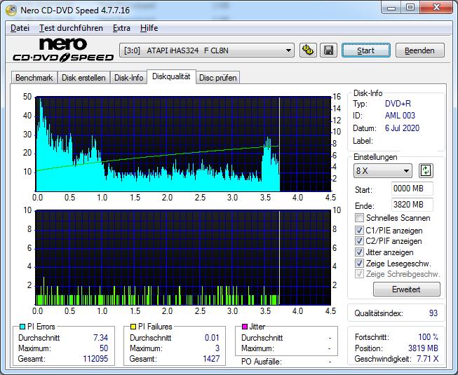 4 Intenso DVD+R 16x (AML 003) LG GH24NSD6 LU00 Scan LiteOn iHAS 324F Q93 PI D7 M50 PIF D0 M3 T1427 (G2020-S2020)